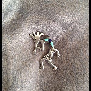 Jewelry - Sterling Silver inlay KOKOPELLI brooch